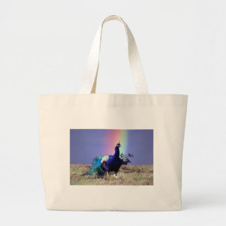 Peacock of joy large tote bag
