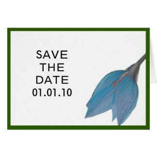 Peacock & Olive Flower Save the Date Card
