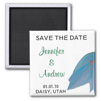 Peacock & Olive Flower Save the Date Magnet