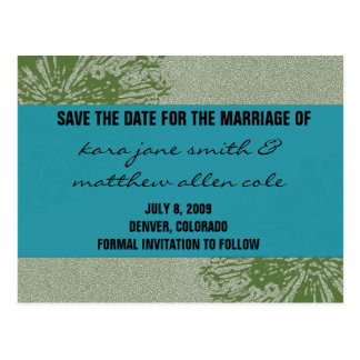 Peacock & Olive Save the Date Postcards