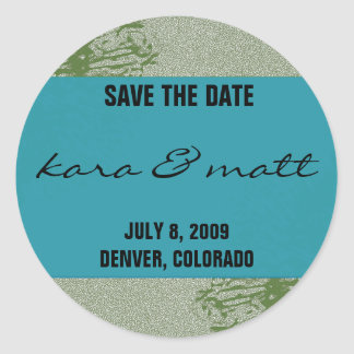 Peacock & Olive Save the Date Round Sticker