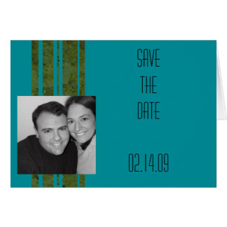 Peacock & Olive Stripe Photo Save the Date Card