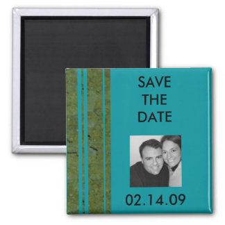 Peacock & Olive Stripe Save the Date Photo Magnet