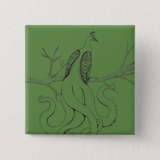 Peacock on a branch pinback button