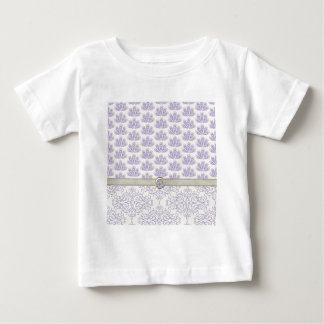 Peacock on Damask and Peacock Print, Lavender Baby T-Shirt