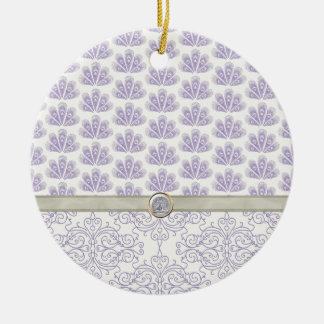 Peacock on Damask and Peacock Print, Lavender Ceramic Ornament