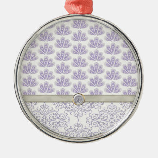 Peacock on Damask and Peacock Print, Lavender Metal Ornament