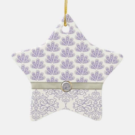 Peacock on Damask and Peacock Print, Lavender Ornament