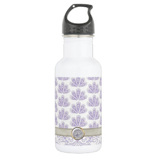 Peacock on Damask and Peacock Print, Lavender Stainless Steel Water Bottle