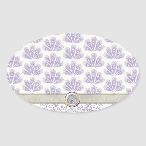 Peacock on Damask and Peacock Print, Lavender Oval Sticker