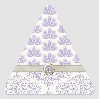 Peacock on Damask and Peacock Print, Lavender Triangle Sticker