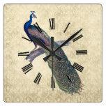 Peacock on Elegant Ivory Damask Square Wall Clock