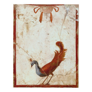Peacock on Fresco Ancient Roman Antique Painting Panel Wall Art