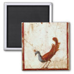Peacock on Fresco Antique Painting Magnet