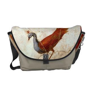 Peacock on Fresco Antique Painting Messenger Bag