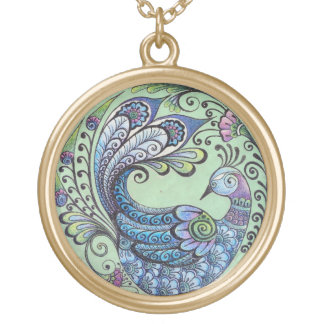 Peacock on Green Pendant - Large Gold