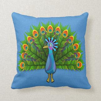 Peacock on Light Blue Throw Pillow