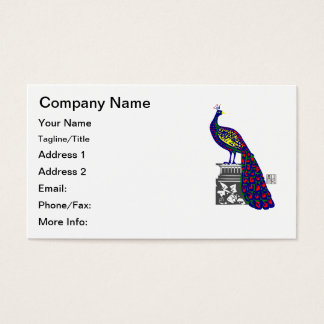 Peacock on Pedestal Vibrant Geometric Pixel Art Business Card