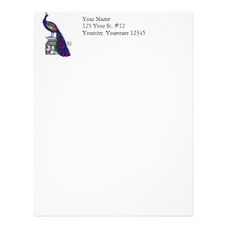 Peacock on Pedestal Vibrant Geometric Pixel Art Letterhead