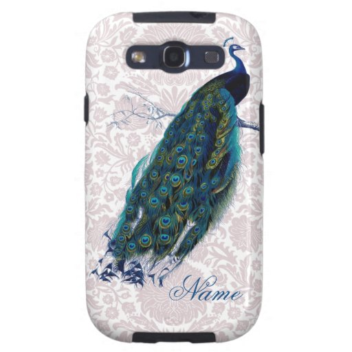 Peacock on Pink Damask Galaxy S3 Covers
