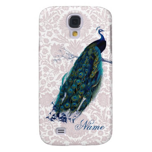 Peacock on Pink Damask Galaxy S4 Covers