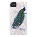 Peacock on Pink Damask iPhone 4 Cases