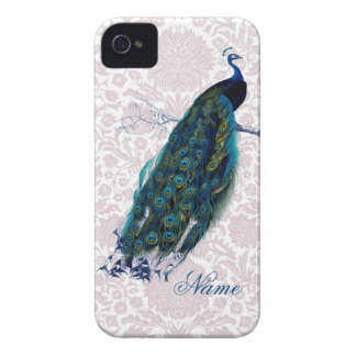 Peacock on Pink Damask iPhone 4 Cover
