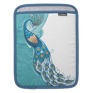 Peacock on Teal Illustration iPad Sleeve