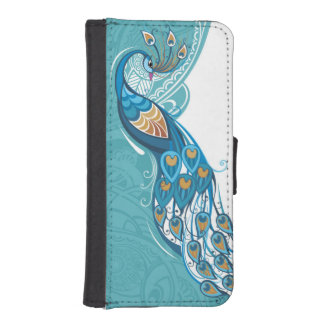 Peacock on Teal Illustration iPhone SE/5/5s Wallet