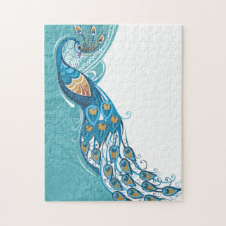 Peacock on Teal Illustration Jigsaw Puzzle
