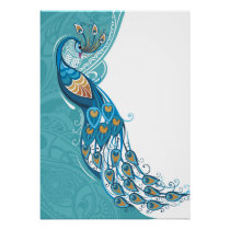 Peacock on Teal Illustration Poster