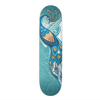 Peacock on Teal Illustration Custom Skate Board