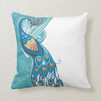 Peacock on Teal Illustration Throw Pillow
