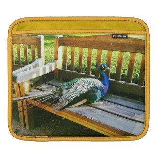 Peacock on the bench iPad sleeve