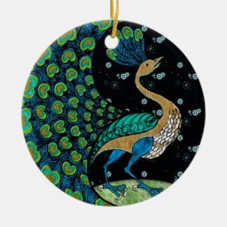 Peacock on Top of the World (Personalized) Ceramic Ornament