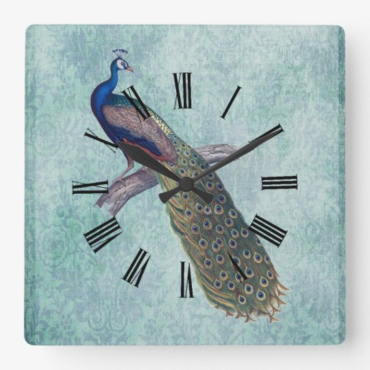Peacock on Watercolor Damask Aqua Teal Square Wall Clock