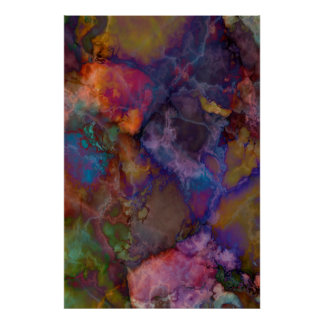 Peacock Ore Chalcopyrite Marble Poster