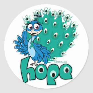 Peacock Ovarian Cancer Classic Round Sticker