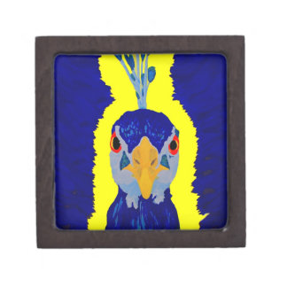 Peacock painting abstract with orange eyes jewelry box