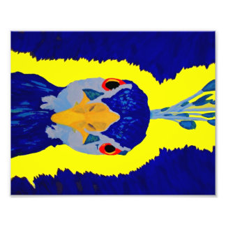Peacock painting abstract with orange eyes photo art