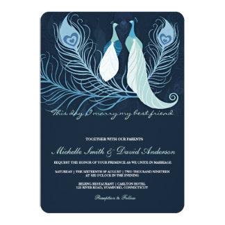 Peacock Pair Love Birds Blue Wedding Invite