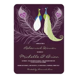 Peacock Pair Love Birds Purple Rehearsal Dinner Card