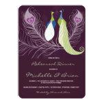 Peacock Pair Love Birds Purple Rehearsal Dinner 4.5x6.25 Paper Invitation Card