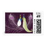Peacock Pair Love Birds Purple Wedding Custom Stamp