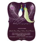 "Peacock Pair Love Birds Purple Wedding Invite 5"" X 7"" Invitation Card"