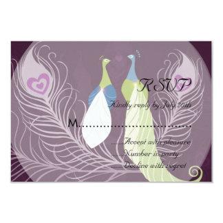 Peacock Pair Love Birds Purple Wedding RSVP Card