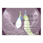 Peacock Pair Love Birds Purple Wedding RSVP 3.5x5 Paper Invitation Card
