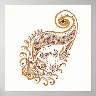 Peacock Paisley Henna Wall Art