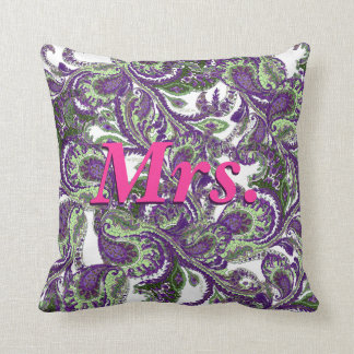 Peacock Paisley Purple and Green Brides Pillow
