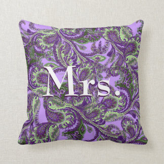 Peacock Paisley Purple and Green Brides Throw Pillow